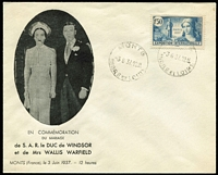 Lot 31 [3 of 3]:Royalty: King Edward VIII 1937 (3rd June-Wedding Day) three covers with French adhesives, showing Wedding Venue, Chateau de Cande and the Union Flag with the Stars & Stripes and all cancelled at Monts.