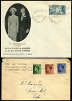 Lot 22 [2 of 2]:Royalty: King Edward VIII 1937 (3rd June-Wedding Day) two covers with French adhesives, showing Wedding Venue, Chateau de Cande, both cancelled at Monts. Also tatty 1936 FDC and several photo-copied articles referring to KEVIII.