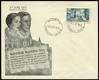 Lot 30 [1 of 2]:Royalty: King Edward VIII 1937 (3rd June-Wedding Day) two covers with French adhesives, showing Wedding Venue, Chateau de Cande, both cancelled at Monts. Also tatty 1936 FDC and several photo-copied articles referring to KEVIII.