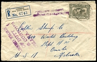 Lot 1546:1936 (Oct 7) registered cover Cessnock to Nebraska, USA, franked with 6d Airmail alongside 'PASSED FREE/OF DUTY/U.S.CUSTOMS/OMAHA, NEBR.' and 'COLLECT 10 CENTS/CUSTOMS CLEARANCE FEE' handstamps. Transit marks on reverse. Few edge faults.