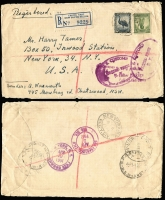 Lot 1897 [3 of 3]:1940s-51 [1] c1940 registered part wrapper from theatrical printer in Melbourne to USA with 35mm 'PASSED FREE OF DUTY/U/US CUSTOMS HOUSE/BUFFALO/NY' handstamp in violet. [2] 1947 (23 Jul) registered commercial cover from Australia to US with 1/6d Hermes (faults) & KGVI 3d brown tied by 'ABERDEEN ST/WEST AUSTRALIA' cds, plus 'LETTER PACKAGE/COLLECT TEN CENTS', 'Supposed liable to custom's ...'. & 'Passed/U.S. Customs Bureau/CHICAGO P.O./GP GP', handstamps. 4 transit cancels on reverse [3] 1951 (12 Feb) Registered cover to USA, franked with 5½d Emu & 1/- Lyre [11½d rate plus 6d registration] with purple 'Letter Package/Collect ten cents' overstamped with oval 'U.S. CUSTOMS/PASSED FREE/S.K./Port of NEW YORK' cachet. Transit marks on reverse. Small faults. (3)