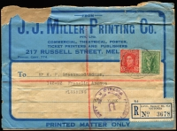 Lot 1897 [1 of 3]:1940s-51 [1] c1940 registered part wrapper from theatrical printer in Melbourne to USA with 35mm 'PASSED FREE OF DUTY/U/US CUSTOMS HOUSE/BUFFALO/NY' handstamp in violet. [2] 1947 (23 Jul) registered commercial cover from Australia to US with 1/6d Hermes (faults) & KGVI 3d brown tied by 'ABERDEEN ST/WEST AUSTRALIA' cds, plus 'LETTER PACKAGE/COLLECT TEN CENTS', 'Supposed liable to custom's ...'. & 'Passed/U.S. Customs Bureau/CHICAGO P.O./GP GP', handstamps. 4 transit cancels on reverse [3] 1951 (12 Feb) Registered cover to USA, franked with 5½d Emu & 1/- Lyre [11½d rate plus 6d registration] with purple 'Letter Package/Collect ten cents' overstamped with oval 'U.S. CUSTOMS/PASSED FREE/S.K./Port of NEW YORK' cachet. Transit marks on reverse. Small faults. (3)