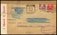 Lot 1547:1942 (Feb 21) Censored ES & A Bank cover to USA with 'SEALED PACKAGE/Secure owner's/permission/to open' & 'SUPPOSED TO CONTAIN MATTER/SUBJECT TO THE PROVISIONS OF/EXECUTIVE ORDER 8389 AS AMENDED' all scored out with blue crayon alongside oval 'CUSTOM HOUSE/PASSED FREE OF DUTY/PITTSBURGH, PA. in violet.