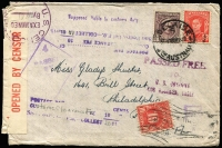 Lot 1410:1943 Underpaid (at 3½d) and Censored cover Adelaide to Philadelphia, markings incl 'Supposed laible to customs duty', 'POSTAGE DUE/CUSTOMS CLEARANCE FEE 10CENTS...', 'PASSED FREE/10/U. S. CUSTOMS/LOS ANGELES, CALIF.' and 10c Postage Due affixed.