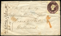 "Lot 1126:1856 (Sep) envelope from GB with 6d Embossed cut square (Cat £1,900 on cover) to 'Shipping Master's Office, Board of Trade, Melbourne', '1d' red charge mark, mss ""rec : by Simla = 7 Jan 1857/No.10"" and on reverse fair strike of straight line 'Cambden Town Py Pd' in blue, London transit cds and in red 'SHIP LETTER/FREE/JA 7/1857/GPO VICTORIA, flap fault."