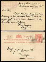 Lot 1130 [2 of 3]:1899-1922 Customs Agents [1] 1899 (Mar 25) Mayne, Nickless advertising envelope locally used. [Melbourne's oldest custom's agent was established in 1886, both founders had previously been employed by McCulloch's]; [2] 1910-11 advice cards (2) from Pearson's Shipping agents alerting consignor of space availability on forthcoming ship sailings for Hobart; [3] 1905 (Jan 24) use of 1d pink stationery card from custom's agent EV Burnett to the famous leather processors JH Abbott & Co, Bendigo about cargo delivery to carrier. (4)