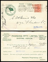 Lot 1130 [3 of 3]:1899-1922 Customs Agents [1] 1899 (Mar 25) Mayne, Nickless advertising envelope locally used. [Melbourne's oldest custom's agent was established in 1886, both founders had previously been employed by McCulloch's]; [2] 1910-11 advice cards (2) from Pearson's Shipping agents alerting consignor of space availability on forthcoming ship sailings for Hobart; [3] 1905 (Jan 24) use of 1d pink stationery card from custom's agent EV Burnett to the famous leather processors JH Abbott & Co, Bendigo about cargo delivery to carrier. (4)