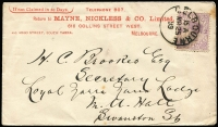 Lot 1130 [1 of 3]:1899-1922 Customs Agents [1] 1899 (Mar 25) Mayne, Nickless advertising envelope locally used. [Melbourne's oldest custom's agent was established in 1886, both founders had previously been employed by McCulloch's]; [2] 1910-11 advice cards (2) from Pearson's Shipping agents alerting consignor of space availability on forthcoming ship sailings for Hobart; [3] 1905 (Jan 24) use of 1d pink stationery card from custom's agent EV Burnett to the famous leather processors JH Abbott & Co, Bendigo about cargo delivery to carrier. (4)