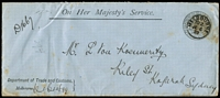 Lot 1124 [2 of 5]:Trade & Customs: [1] 1901 (Aug 16) violet Department frank on OH(is)MS Custom House mourning envelope to Serviceton (fine backstamp). Roughly opened. [Unrecorded in Steig & Watson], [2] 1899 (Jun 6) Department frank on OHMS long cover to Kogorah (b/s, also Sydney backstamp), few tone spots. (ex Perry); [3] 1900 (Nov 29) Dept of Trade & Customs frank on 'NOTICE' card advising addressee of arrival ex Belle from Hamburg with cargo of salt, cement, etc, signed by the 'Landing Waiter' at Shed No. 6, (Victoria) Dock; [4] 1900 (Jul 29) Department frank on 'NOTICE' card advising addressee of arrival of 'Melbourne' ex New York with cargo of maize, signed by 'Landing Waiter', No. 6 Shed (Victoria) Dock; [5] 1901 (Nov 23-ERD) Department violet frank on long envelope to Sydney overstruck with 'MELBOURNE' cds, (ex Perry), (Steig & Watson #250). (5)