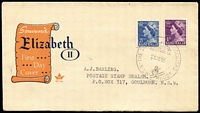 Lot 650:1955 'THE SUMMIT, MT. KOSCIUSKO/23DE55/N.S.W. AUST.' (APM 1135) on generic Royal QE II FDC envelope used to Goulburn. Cat $250.