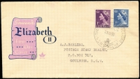 Lot 741:1955 'THE SUMMIT, MT. KOSCIUSKO/23DE55/N.S.W. AUST.' (APM 1135) on generic Royal QE II FDC envelope used to Goulburn. Cat $250.