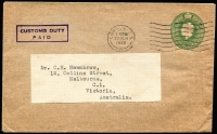 Lot 1106:1939 (Mar 23) GB ½d KGV stationery envelope from London to Collins Street doctor with boxed 'CUSTOMS DUTY/PAID' in violet.