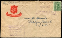 Lot 607 [2 of 3]:UPS 376 & 407 - New Guinea [1] Unit Postal Station 376 '13FE44' datestamp tying QM 1d to Air Letter, used at Cape Hoskins, New Britain; also UPS 407 '9SE44' datestamp tying KGVI 3d, used at Potsdam (village in Madang district) by 11 Div PU.; [2] Framed rectangle 'UNIT POSTAL/23OCT1944/STATION ELC24' tying 4d Koala (torn) to airmail cover to Patonga Beach (NSW), AMF Censor handstamp, used by HQ 1 Armd Regt at Southport.; [3] large oval 'UNIT POSTAL STATION/24AUG1942/S89' tying QM 1d to cover to Victoria, AMF boxed censor handstamp in black, some age spotting and small tear at right. Used at Atherton and none have been seen by Proud. (4)