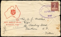 Lot 607 [3 of 3]:UPS 376 & 407 - New Guinea [1] Unit Postal Station 376 '13FE44' datestamp tying QM 1d to Air Letter, used at Cape Hoskins, New Britain; also UPS 407 '9SE44' datestamp tying KGVI 3d, used at Potsdam (village in Madang district) by 11 Div PU.; [2] Framed rectangle 'UNIT POSTAL/23OCT1944/STATION ELC24' tying 4d Koala (torn) to airmail cover to Patonga Beach (NSW), AMF Censor handstamp, used by HQ 1 Armd Regt at Southport.; [3] large oval 'UNIT POSTAL STATION/24AUG1942/S89' tying QM 1d to cover to Victoria, AMF boxed censor handstamp in black, some age spotting and small tear at right. Used at Atherton and none have been seen by Proud. (4)