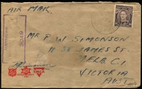 Lot 607 [1 of 3]:UPS 376 & 407 - New Guinea [1] Unit Postal Station 376 '13FE44' datestamp tying QM 1d to Air Letter, used at Cape Hoskins, New Britain; also UPS 407 '9SE44' datestamp tying KGVI 3d, used at Potsdam (village in Madang district) by 11 Div PU.; [2] Framed rectangle 'UNIT POSTAL/23OCT1944/STATION ELC24' tying 4d Koala (torn) to airmail cover to Patonga Beach (NSW), AMF Censor handstamp, used by HQ 1 Armd Regt at Southport.; [3] large oval 'UNIT POSTAL STATION/24AUG1942/S89' tying QM 1d to cover to Victoria, AMF boxed censor handstamp in black, some age spotting and small tear at right. Used at Atherton and none have been seen by Proud. (4)