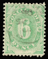 Lot 440 [2 of 2]:1902 Converted NSW Plates 6d emerald with 'SW' of 'NSW' not fully removed and 5/- emerald showing portions of letters of 'NSW'. Fine used, BW #D9k,11f, Cat $425. (2)