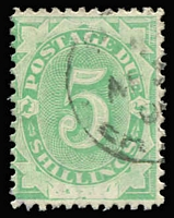 Lot 440 [1 of 2]:1902 Converted NSW Plates 6d emerald with 'SW' of 'NSW' not fully removed and 5/- emerald showing portions of letters of 'NSW'. Fine used, BW #D9k,11f, Cat $425. (2)