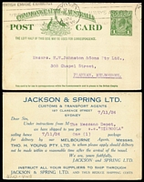 Lot 872 [3 of 7]:1924 -1946 NSW Custom Agents with 1924 (10 Nov) 1d green Die III Postal Card Jackson & Spring, 1933 (27 Sep) James Patrick & Co with 'BRITISH EMPIRE PAGEANT' label on reverse, 1946 (13 Feb) Illustrated envelope for Morris Middleton & Co, 1933 covers from C. Aickin & Sons, Sutton Rudder Carrying Co Ltd, Huddart Parker Ltd, Barton & Co,1933-37 Rudder's illustrated advertising envelopes (10)