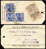 "Lot 642 [1 of 2]:1934 1934 (25 Sep) two tea sample parcel tags from Batavia to a Tea Merchant in Adelaide, each with 'Nett not exceeding/""100"" (mss) grams' and 2 Custom's labels with (in Dutch) 'Export allowed of 50g tea'. (2)"