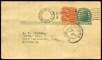 Lot 787 [1 of 2]:1939 USA uprated 1c postal card from JJ Berliner [book publishers & distributors, New York] to Australia with double-ring 'CUSTOMS/T½D/DUES' handstamp.
