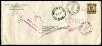 Lot 908 [1 of 2]:1939 US DL size envelope to NSW with 1½c Harding (Denver pre-cancel), 5 different 'UNCLAIMED...', 'RETOUR', REBUTS', etc, on front and on reverse 'NON RECLAIME (UNCLAIMED.) straight line handstamp, plus Sydney & San Francisco 'DLO' cancels & Customs stamps ¼d & 1d just tied by NSW cds & SF DLO cds.