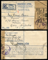 Lot 890 [2 of 4]:1944 (May & Sep) registered envelopes from Ramsey I.O.W. to sisters at Maroubra, both covers have 'Opened for Customs' labels (one brown, one white) & circular '(Crown) Customs & Excise' handstamps. Attractive pair. (2)