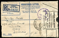 Lot 890 [3 of 4]:1944 (May & Sep) registered envelopes from Ramsey I.O.W. to sisters at Maroubra, both covers have 'Opened for Customs' labels (one brown, one white) & circular '(Crown) Customs & Excise' handstamps. Attractive pair. (2)