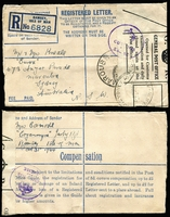 Lot 890 [1 of 4]:1944 (May & Sep) registered envelopes from Ramsey I.O.W. to sisters at Maroubra, both covers have 'Opened for Customs' labels (one brown, one white) & circular '(Crown) Customs & Excise' handstamps. Attractive pair. (2)