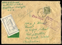 "Lot 975 [1 of 2]:1947 (Nov 29) large envelope (200x150mm) to NSW with small green Douane C1 label over which has been placed 1937 blue & white 'ASSESSMENT LABEL/Customs Duty to Pay - £ : ""4/-""', alongside poor boxed 'MORE TO PAY/Postage Due for/special handling/of dutiable goods/3d', and on reverse Australian Postage Dues 1d (3, incl a pair). Some faults."