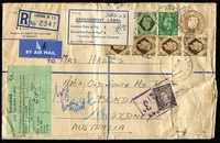 "Lot 727:1948 (May 1) GB KGVI 5½d registered envelope (uprated by 4/9½d for airmail) to NSW with a 1945 blue & white 'ASSESSMENT LABEL/Customs Duty to Pay £ : ""4/8""', small green DOUANE C.I. label and boxed 'MORE TO PAY/3d' handstamp & KGVI 3d brown added. No markings on reverse. Flap fault."