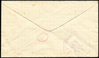 Lot 733 [2 of 2]:1951 (Jul 14) Economy envelope (re-cycled paper from 'The Distillers Co. Ltd with Penecillin mentioned), to NSW with 'Orpington, Kent 1½d/PAID' slogan in red alongside bold 'CUSTOMS DUTY/½d/TO PAY' cds in red and on reverse '(Clock)/CUSTOMS G.P.O./19SEP1951/RELEASED/SYDNEY'. Blemishes.