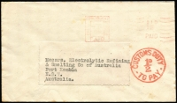 Lot 733 [1 of 2]:1951 (Jul 14) Economy envelope (re-cycled paper from 'The Distillers Co. Ltd with Penecillin mentioned), to NSW with 'Orpington, Kent 1½d/PAID' slogan in red alongside bold 'CUSTOMS DUTY/½d/TO PAY' cds in red and on reverse '(Clock)/CUSTOMS G.P.O./19SEP1951/RELEASED/SYDNEY'. Blemishes.