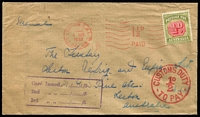 Lot 734 [1 of 2]:1953 (Aug 4) 'London 1½d/Paid' slogan on cover to NSW with 30mm 'CUSTOMS DUTY/½d/TO PAY' in red alongside Australian ½d Postage Due, Postman's boxed 'Card Issued' handstamp on front and on reverse '(Clock)/CUSTOMS G.P.O./1OCT1953/RELEASED/SYDNEY' handstamp.