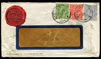 Lot 526 [2 of 2]:2½d Indigo x4 (2 pairs) on 1915 (Mar 13) Multicoloured window envelope for Chas. R. Barton, Customs Agent, Sydney. Despite small blemishes and missing flap this is still a very desirable cover. [This is the quadruple rate to a non-British Commonwealth country] Plus later Chas R Barton window envelope franked with KGV 1d, 2d & 3d [paying the triple rate of 6d], evidence of bulky contents. (2)