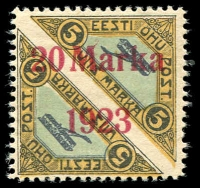 Lot 856 [1 of 5]:1923 Airs perf pairs 10m on 5m, 20m on 5m, plus imperf set of 3, scarce set. All with streaky gum. (5 prs)