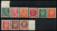 Lot 1337 [2 of 3]:WWII British Propaganda Forgeries from German Occupied France of 1938-42 Mercury 25c, 30c, 1939-41 Iris 1f50c, 1941-42 30c, 50c, 70c red-orange, 1f, 1f20, 1f50 red-brown, 2f, Mi #36-47 (ex #44) all with Pieles Certificate. Very scarce. (10)