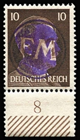 Lot 1353 [2 of 2]:1945 Fredersdorf: Hitler stamps 10pf & 12pf with circular 'Initials' [FM] seal in purple obliterating Hitler's face, signed on reverse with 'STURM' handstamp. Rare. Mi #24-5. (2)