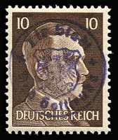 Lot 1543 [2 of 2]:Bad Gottleuba: Hitler stamps 10pf & 12 pf issues optd with 'Town Seal' and signed 'ZIERER BPP' on reverse. Mi #22-23. A rare set in perfect condition. (2)