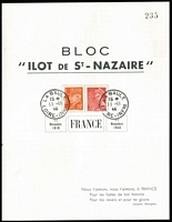 Lot 1323 [2 of 4]:1944 Liberation: 'Ilot de St-Nazaire' large & small commemorative sheets with stamps affixed and cancelled with 'LA BAULE/15*/11-11/44/LOIRE-INFERIEURE' cds # 1, 2, in perfect condition. 1945 (8-1) card cancelled with red meter cancel and 'LA BAULE' cds in black #3a +b. All cards are numbered in black and have individual Pieles certificates. A very difficult group to assemble. (8 items)