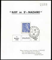 Lot 1323 [3 of 4]:1944 Liberation: 'Ilot de St-Nazaire' large & small commemorative sheets with stamps affixed and cancelled with 'LA BAULE/15*/11-11/44/LOIRE-INFERIEURE' cds # 1, 2, in perfect condition. 1945 (8-1) card cancelled with red meter cancel and 'LA BAULE' cds in black #3a +b. All cards are numbered in black and have individual Pieles certificates. A very difficult group to assemble. (8 items)