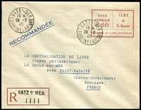 Lot 1360 [1 of 2]:St. Nazaire: 1945 (28 Feb) Registered 4f50 indicia in red stationery envelope used from BATS s/MER to La Baule. In earlier catalogues this was catalogued as 'U1' and priced at DM1,200. With Pieles Certificate. Rare.