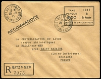 Lot 1361 [1 of 2]:St. Nazaire: 1945 (28 Feb) Registered 4f50 indicia in black stationery envelope used from BATS s/MER to La Baule. In earlier catalogues this was catalogued as 'U2' and priced at DM1,200. With Pieles Certificate. Rare.