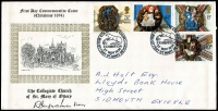 Lot 469 [2 of 3]:1966-79 Collection incl 1974 Christmas with Collegiate Church handstamp and signed by the Vicar, 1975 Architecture with Wilton House handstamp, many other commem cancels. STC approx £500. (50+)