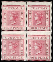 Lot 1528 [1 of 2]:Customs: 1860 Wmk Ship 4d rose (Barefoot #12) block of 4, off centre. Very scarce in multiples. [A similar block of four (probably from the same sheet) sold recently in the UK for £200], also 1887-1900 Embossed 3d revenue with 'CUSTOMS' opt in blue, used in 1898. (5)