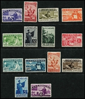 Lot 986 [2 of 2]:1935 International Fund For Intellectuals 5c to 20f, (5f with minor damage) otherwise fine. SG #324-38, Cat £800. (15)