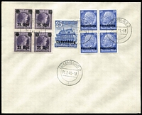 Lot 1435 [3 of 3]:1941 Range of unaddressed covers mostly with blocks of 4 with values to 25rpf or singles, various 'Pres Hindenburg', several covers with pictorial postmarks. Generally fine. (32)