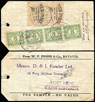 "Lot 1582 [2 of 2]:1934 (Sep 25) two tea sample parcel tags from Batavia to a Tea Merchant in Adelaide, each with 'Nett not exceeding/""100"" (mss) grams' and 2 Custom's labels with (in Dutch) 'Export allowed of 50g tea'. (2)"