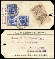 "Lot 1582 [1 of 2]:1934 (Sep 25) two tea sample parcel tags from Batavia to a Tea Merchant in Adelaide, each with 'Nett not exceeding/""100"" (mss) grams' and 2 Custom's labels with (in Dutch) 'Export allowed of 50g tea'. (2)"