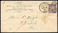 Lot 1101 [3 of 3]:1895 (8 Nov) 1d PTPO envelope HG #KB3 for Wall & Molesworth sent from The Exchange to Newtown with printed notation on front 'BUSINESS MATTER ONLY' and gorgeous artwork on reverse. Flap tear. Plus earlier 1892 1d PTPO envelope HG #KB3 also for Wall & Molesworth, but with address etc on face and blank back. Foxing & flap fault. Uncommon. Ex Druce. (2)