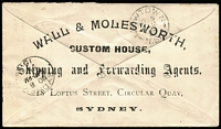 Lot 958 [1 of 3]:1895 (8 Nov) 1d PTPO envelope HG #KB3 for Wall & Molesworth sent from The Exchange to Newtown with printed notation on front 'BUSINESS MATTER ONLY' and gorgeous artwork on reverse. Flap tear. Plus earlier 1892 1d PTPO envelope HG #KB3 also for Wall & Molesworth, but with address etc on face and blank back. Foxing & flap fault. Uncommon. Ex Druce. (2)